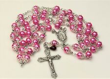 ANTIQUE SILVER ROSE PINK MIRACULOUS ROSARY, ROSARIO, ROSENKRANZ & FREE GIFT. HM