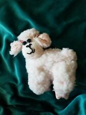 Vintage Handmade White Curly Wool Lamb Plush Folk Art Stuffed Toy Plush Easter
