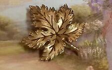 Nice Gold Tone Vintage Leaf Brooch Pin - Signed Trifari