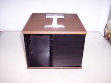 TABLETOP PLASTIC WOODGRAIN SWIVEL 8 TRACK STORAGE RACK   *holds 24 tapes**    #L