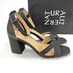 NEW Naturalizer 8.5 Maggie Heels Black Ankle Strap Block Heel Dress Sandal NIB