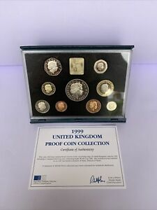 1999 Blue Proof Coin Set 9 Coins With COA United Kingdom