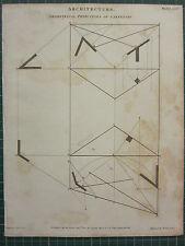 1805 datato antico stampa ~ architettura geometrica principi di carpenteria