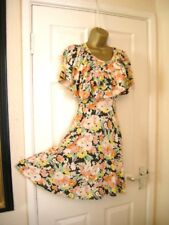6 VERY FLORAL RUFFLE MINI  DRESS COOL RETRO 70'S 80'S STRETCH  PARTY WEDDING