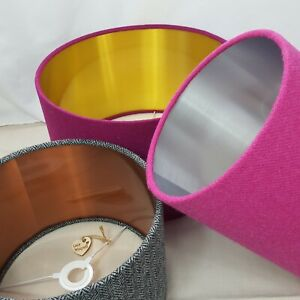 Lilac Harris Tweed Lampshade with Silver Metallic Lining