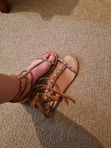 Gladiator style ladies faux leather sandals size 7 good condition