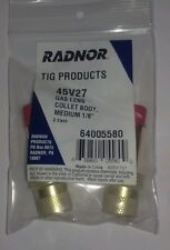"Radnor 64005580 Medium Gas Lens Collet Body  1/8"" 45V27 QTY 2 in package"
