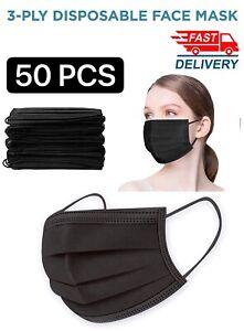 50 PCS BLACK/BLUE Face Mask Mouth & Nose Protector Respirator Masks US Seller