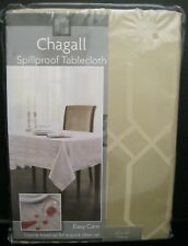 """BENSON MILLS CHAGALL SPILLPROOF BEIGE TABLECLOTH 100% POLY 52"""" x70"""" OBLONG NEW"""