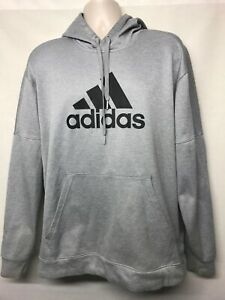 Adidas Team Fleece Pullover Hooded Sweatshirt Grey Black Climawarm Sz XL  DH9017