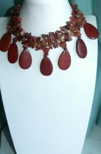 JEWELLERY UNUSUAL BROWN & AMBER TONED POLISHED STONE & WOOD NECKLACE 917