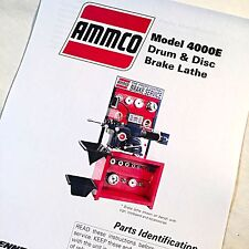 Ammco Parts Manual 4000e Electronic Drum Amp Disc Brake Lathes