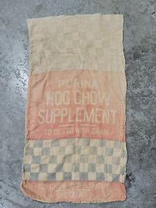 Vintage Purina Hog Chow Supplement Checkered Canvas Feed Sack Bag Soft Worn Farm