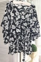 NEW~ Plus Size 2X Black Ivory Floral Faux Wrap Top Dressy Blouse