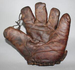 Antique Vintage 1930's Bailey & Himes tunnel loop split finger baseball glove