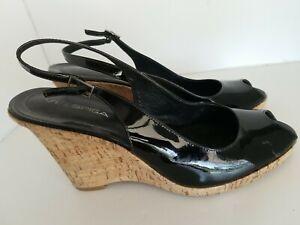 Via Spiga Peep Toe Slingback Black Patent Leather Wedge Heel Shoes 12M YJ01 A2