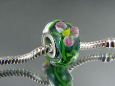 SILVER CORE FLORAL MURANO GLASS BEAD FOR EUROPEAN STYLE CHARM BRACELETS #MB 224