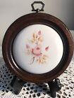 """VTG HOMCO Wood Framed Ceramic Rose Floral Pink Round Wall Plaque - 5"""""""