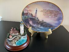 Thomas Kincade Guiding Lights- Clearing Storms Plate and Lighthouse on Stand
