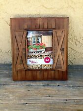 RUSTIC FARMHOUSE STYLE WOOD BARN DOOR PHOTO / PICTURE FRAME OPENING SHUTTERS