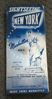 Vintage MANHATTAN SIGHTSEEING BUS TOURS 1940s brochure STATUE LIBERTY new york