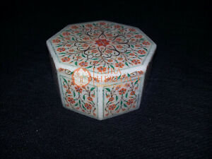 Marble White Decorative Jewelry Lidded Box Carnelian Marquetry Fine Floral Decor