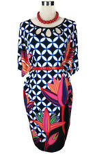 LEONA EDMISTON Dress - Geometric Floral Retro Shift Black Blue Orange Pink XS/8