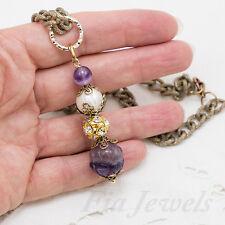 Collana Stile Antico Ametista Perla e Fluorite Ottone Gioielli Artigianali Unici
