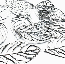 20 x Large 54mm Filigree Leaf Shape Leaves Embellishment Silver Tone Charm Craft
