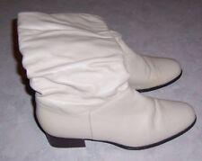 "WORTHINGTON Womens Size 7.5M Beige Leather Mid Calf Boots 1.5"" Heel"