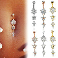 2ps Colour Flower belly button ring  Navel piercing  Body piercing