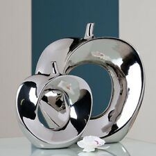Moderne Deko Vase Blumenvase APPLE aus Keramik silber Höhe 37 cm Breite 34 cm