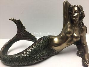 "Small Mermaid Lying on Back Statue Sculpture Figurine bronze finish 11.5"""