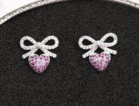 Ω Ohrstecker Ohrring Schleife mit rosa Herz Zirkonia und 925 Sterling Silber