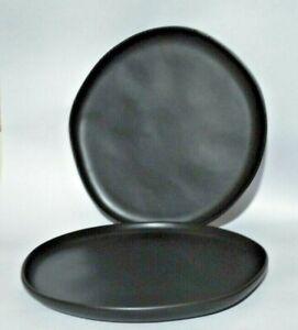 "2 Hearth and Hand Magnolia  10"" Dinner Plates  Matte Black Stoneware"