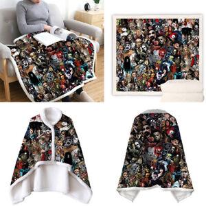 Wearable Fleece Throw Blanket W Button Scary Halloween Throw on Sofa Bed Travel