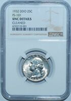1932 NGC Uncirculated Details DDO FS-101 Doubled Die Obverse Washington Quarter