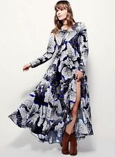 NWT Free People black white blue Babydoll Bold Floral Printed Maxi Swing Dress M