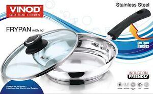 VINOD Stainless Steel Induction Frypan Vented Glass Lid Saucepan Saute 20cm 24cm