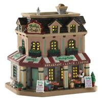 Lemax 2020 Molly's Corner Cafe Christmas Village #05687 Flower Boxes Stone Walls