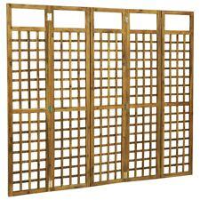 5 Panel Room Divider Trellis Solid Acacia Wood 200x170 Cm