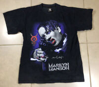 Vintage 90s Men's Marylin Manson ONE SIZE Black 2-Sided Graphic t shirt Rock