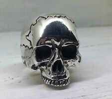 Silver Keith Richards  Large Skull Ring  Rock Style