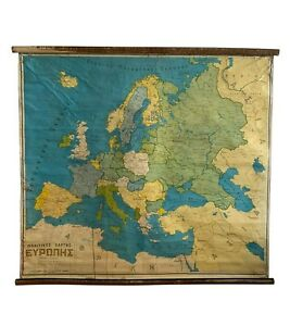 Vintage Europe Pull down Map, Rare Map, Political School Map, Old Chart, Vintage