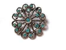 Crystal Silver Tone Brooch Vintage Art Deco Blue Glass