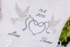 Ringkissen Hochzeit  mit Name und Datum (Tauben+Band)