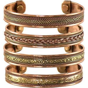 CELTIC Braided Three Metal COPPER Brass Silver Adjustable Mens BRACELET Jewelry