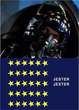 TOP GUN JESTER FLIGHT HELMET MOVIE PROP FIGHTER PILOT DECALS STICKERS STARS