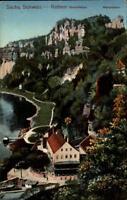 Rathen sächsische Schweiz alte AK ~1910/20 Blick auf Basteifelsen und Mönchstein