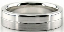 14K WHITE SOLID GOLD MENS WEDDING BANDS RINGS SATIN & SHINY FINISH 6MM